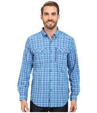 Exofficio Sol Cool Cryogen Plaid Long Sleeve Shirt Prussian Men's Long Sleeve Button Up Blue