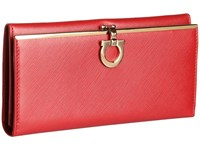 Salvatore Ferragamo 4633 Icona Continental Wallet Rosso Tissu Soft Wallet Handbags Red