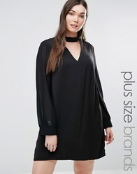 Alice And You Sheer Sleeve Shift Dress With Collar Detail Black