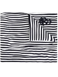 Alexander Mcqueen Striped Scarf With Skull Detail White