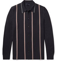 Lanvin Striped Knitted Merino Wool And Cotton Blend Shirt Midnight Blue