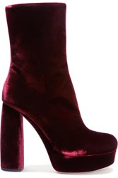 Miu Miu Leather Trimmed Velvet Ankle Boots Claret