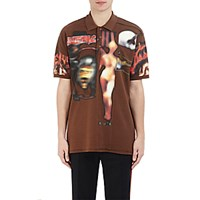 Givenchy Men's Heavy Metal Print Polo Shirt Brown