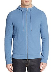 Vince Jersey Lined Thermal Hoodie Bayou Blue