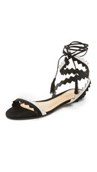 Schutz Leila Ankle Wrap Sandals Black Pearl