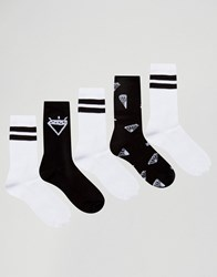 Asos Sports Style Socks With Diamond Design 5 Pack Monochrome Multi