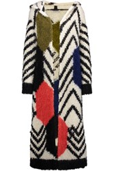 Valentino Boucle Knit Coat Off White