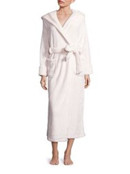 Saks Fifth Avenue Silk Wrap Hooded Robe Ivory Blue