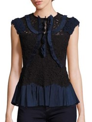 Rebecca Taylor Ruffle Trimmed Lace Blouse Black Navy