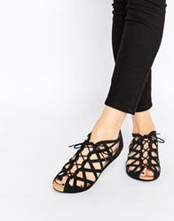 Park Lane Cut Out Gladiator Leather Flat Sandals Black