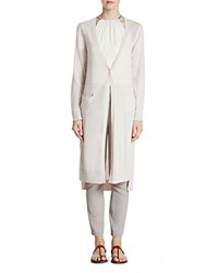 Halston Heritage One Button Long Cardigan Oyster