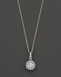 Bloomingdale's Halo Diamond Solitaire Pendant Necklace In 14K White Gold .25 Ct. T.W. Yellow Gold White Diamonds