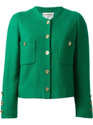Chanel Vintage Tweed Boucle Jacket Green