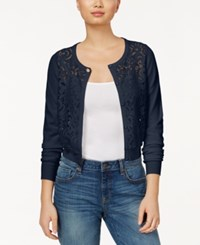Maison Jules Lace Front Cardigan Only At Macy's Blu Notte