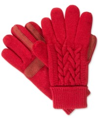 Isotoner Signature Solid Triple Cable Knit Palm Smartouch Tech Gloves Red
