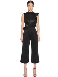 Self Portrait Beaded Sequin Ruffled Neoprene Jumpsuit