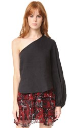 Georgia Alice One Shoulder Balloon Shirt Black