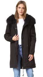 Mr And Mrs Italy Black Coat With Fur Trim