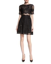 Marchesa Notte Short Sleeve Flared Lace Cocktail Dress