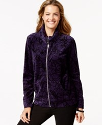 Styleandco. Style And Co. Sport Printed Zip Front Track Jacket Only At Macy's Purple