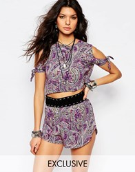 Milk It Vintage Festival Crop Top With Cold Shoulder In Paisley Floral Print Co Ord Purple