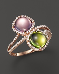 Bloomingdale's Amethyst And Peridot Cabochon Ring With Diamonds In 14K Rose Gold Multi