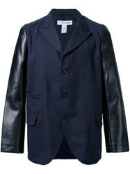 Comme Des Garcons Shirt Leather Sleeve Blazer Black