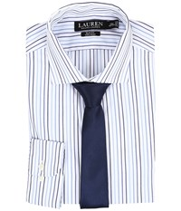 Lauren Ralph Lauren Slim Estate Collar White Bond Navy Men's Long Sleeve Button Up Blue