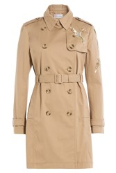 Red Valentino Cotton Trench Coat With Sequin Embellishment Beige