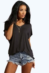 Boohoo Basic Jersey V Neck Oversized Tee Black
