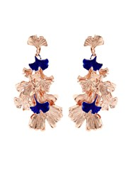 Aurelie Bidermann Ginkgo Lacquered Rose Gold Plated Clip On Earrings
