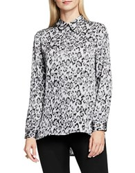 Vince Camuto Leopard Flurry Long Sleeve Button Front Blouse Grey Multi