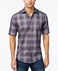 Alfani Men's Plaid Short Sleeve Shirt Rocky Slate
