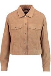 7 For All Mankind Cropped Zip Detailed Suede Jacket Sand
