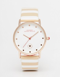 Johnny Loves Rosie Rose Gold Stripe Watch Nudestripe