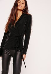 Missguided Long Sleeve Wrap Tie Side Blouse Black Black