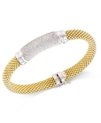 Macy's Diamond Mesh Bangle Bracelet 3 4 Ct. T.W. In 14K Gold Plated Sterling Silver Yellow Gold