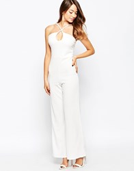 Daisy Street Jumpsuit With Keyhole Detail White