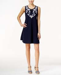 Styleandco. Style And Co. Embroidered Lace Up Dress Only At Macy's Industrial Blue