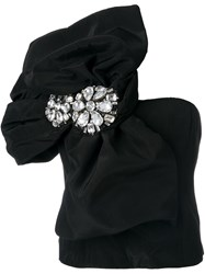 Moschino One Shoulder Oversized Bow Top Black