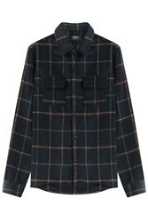 A.P.C. Girl Plaid Shirt With Wool Blue