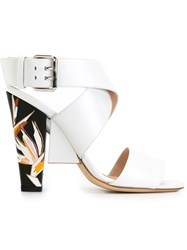 Fendi Chunky Heel Sandals White