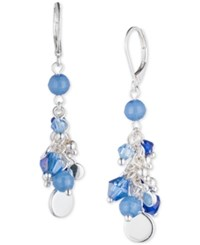 Nine West Silver Tone Shaky Blue Bead Cluster Drop Earrings