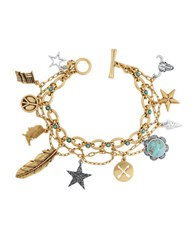 Lucky Brand Americana Rock Crystal Two Toned Charm Bracelet Two Tone