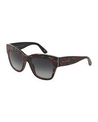Dandg D And G Rose Printed Piped Sunglasses Red Black