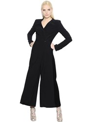 Antonio Berardi Wrapped Stretch Cady And Velvet Jumpsuit