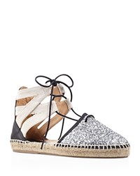 Charles David Sunshine Glitter Lace Up Espadrille Flats Silver