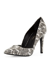 Trina Turk Hollywood Snake Embossed Pointed Toe Pump Black White