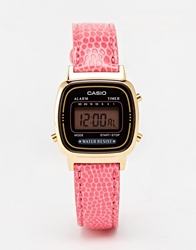 Casio La670wegl 4Aef Mini Pink Leather Digital Watch