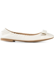 Bally Bow Detail Ballerinas White